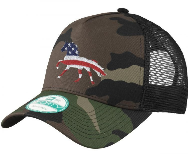 horse trucker ball cap - camo usa flag