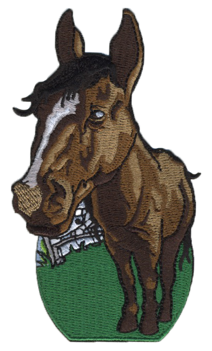 horse embroidered patch - on farm