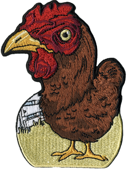 chicken on farm embroidered patch