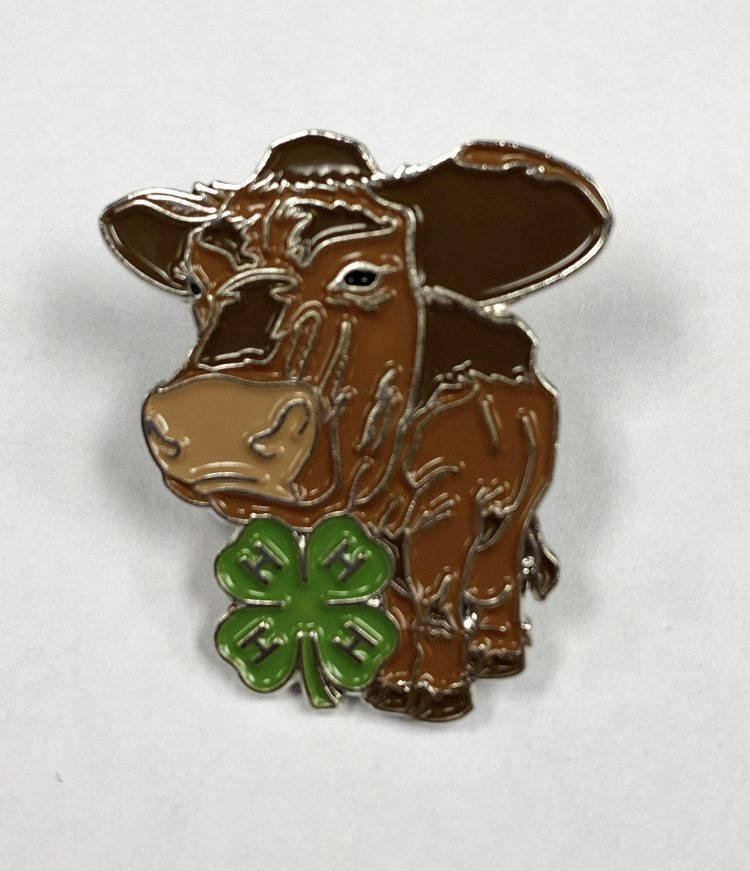 4-H lapel pin - beef cattle and 4-H logo