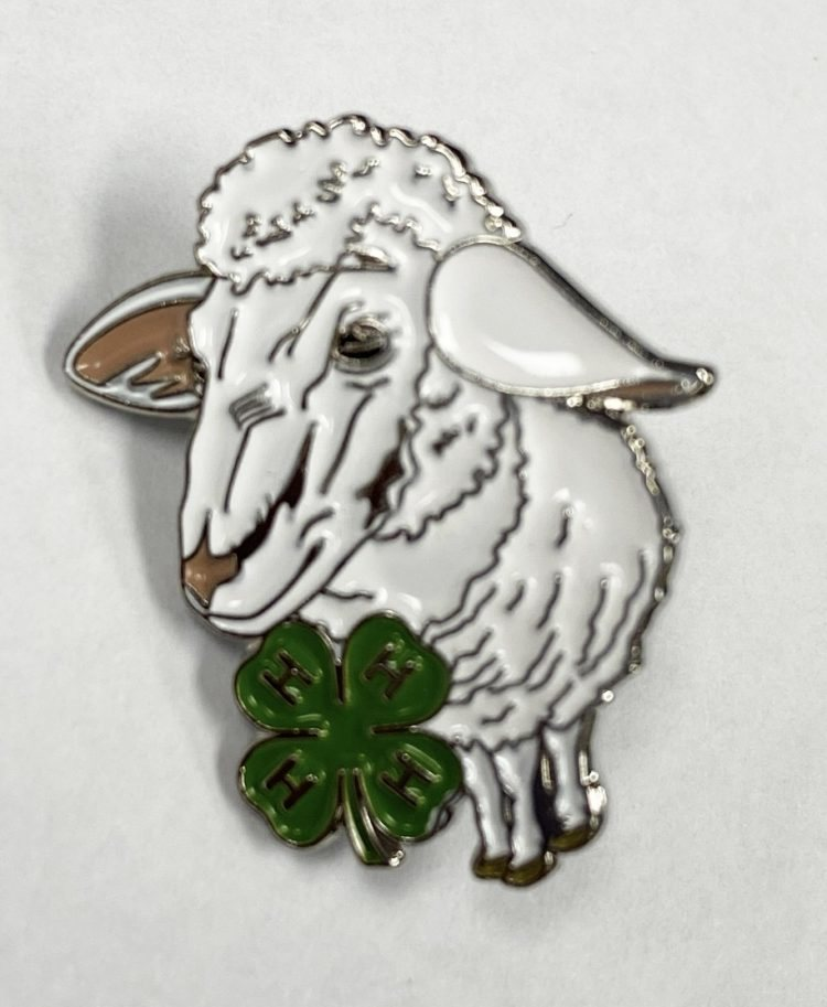 4-H lapel pin - sheep and 4-H logo